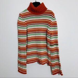 American Eagle Striped Cowl Neck Sweater Orange 70